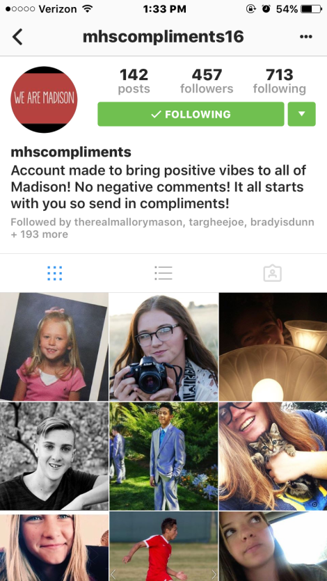 A screenshot of the @mhscompliments16 Instagram page Courtesy Photo