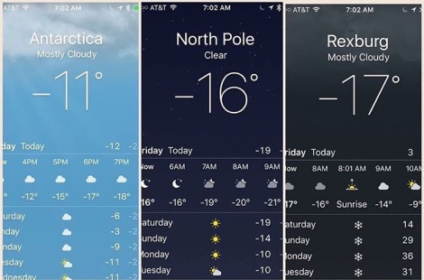 Rexburg's weather compared to other very cold places