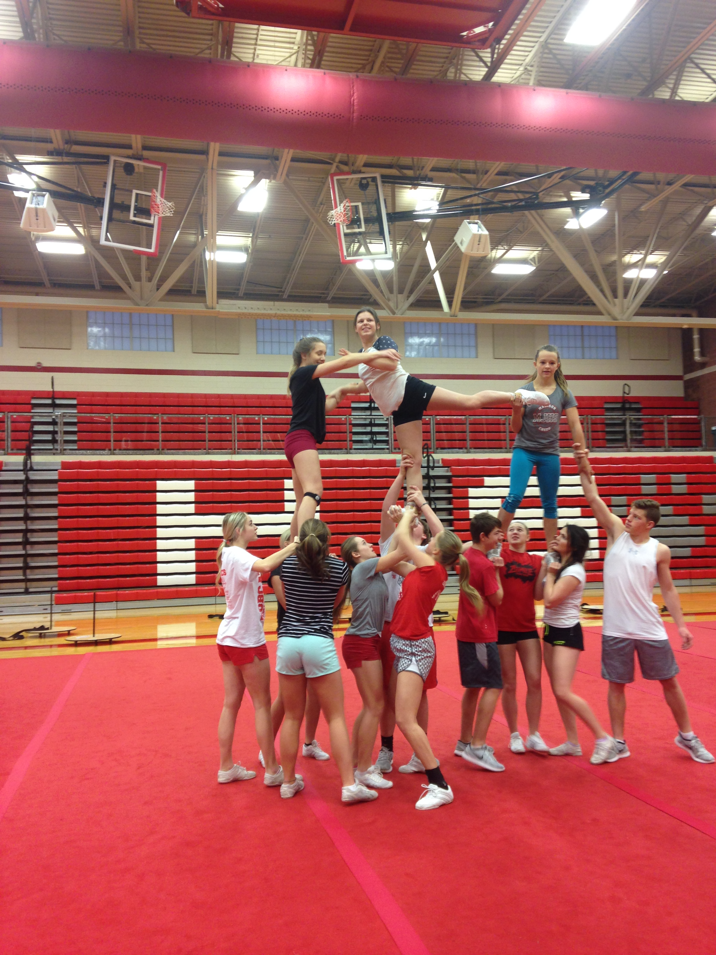 MHS practice for their upcoming competiton