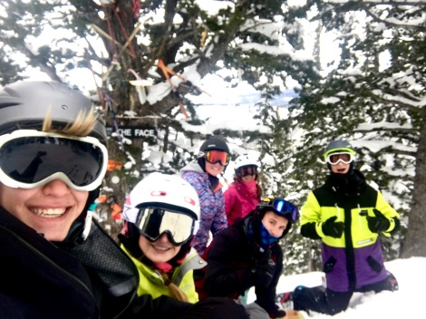 Brady Dunn and his group skiing at Targhee for a date. Photo credit Sam Fisher.